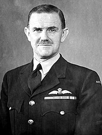 Head-and-shoulders portrait of mustachioed man wearing dark military uniform with pilot's wings above breast pocket