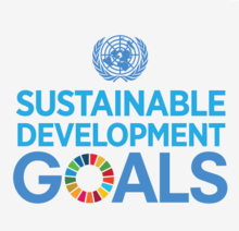 "Logo for the United Nations Sustainable Development Goals with the UN symbol above the words ""Sustainable Development Goals"". The ""O"" in goals being a rainbow of colours"