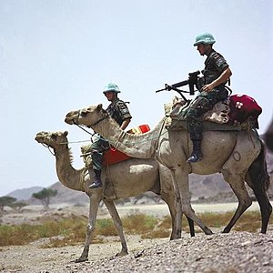Eritrean–Ethiopian War - United Nations soldiers, part of the United Nations Mission in Ethiopia and Eritrea, monitoring Eritrea–Ethiopia boundary (2005).