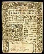 Connecticut Kolonialwährung, 40 Schilling, 1775 (Vorderseite)