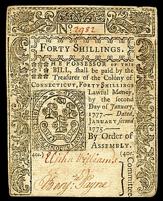 Early American currency - Image: US Colonial (CT 178) Connecticut 2 Jan 1775 OBV