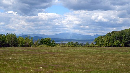 Westward view of the Adirondack Mountains and Lake Champlain from Charlotte's Route 7 Scenic Overlay district.[4]