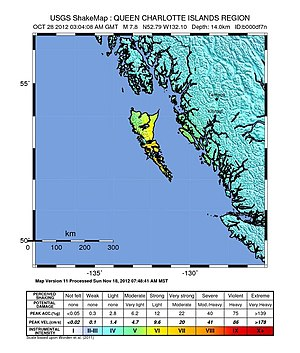 2012 Haida Gwaii earthquake - USGS ShakeMap for the event