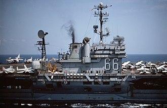 Kitty Hawk-class aircraft carrier - Image: USS America (CV 66) island 1976