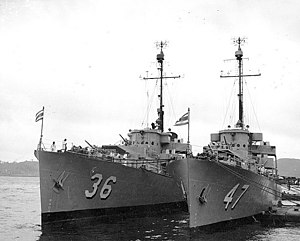 USS Glendale (PF-36) and USS Gallup (PF-47) before their transfer to Thailand at Yokosuka Naval Base, Japan, 29 October 1951 (NH 97102).jpg