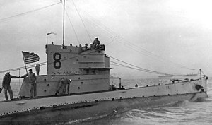 """USS O-8 (SS-69) - O-8 (SS-69) with the """"Victory Fleet"""" off New York City in 1919"""