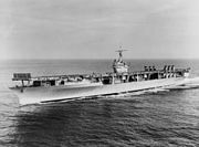 USS Ranger (CV-4) underway at sea during the later 1930s