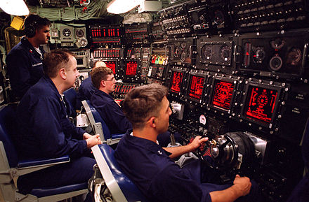 USS Seawolf (SSN-21) Ship Control Panel, with yokes for control surfaces (planes and rudder), and Ballast Control Panel (background), to control the water in tanks and ship's trim USS Seawolf (SSN 21) Control Room HighRes.jpg