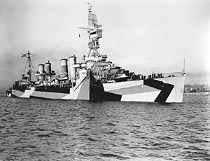 USS Trenton (CL-11) - Trenton after her last overhaul in August 1944.