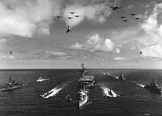 USS Valley Forge (CV-45) - Task Group ALFA, formation portrait of the anti-submarine group's ships and aircraft, taken during 1959 exercises in the Atlantic.