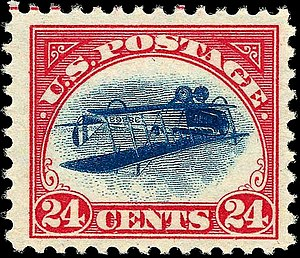 Airmail stamp - 1918 US Inverted Jenny airmail stamp