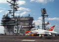 US Navy 040417-N-8704K-001 Lt.j.g. Julin Rosemand lands a T-45C Goshawk assigned to Fixed Wing Training Squadron One (VT-1) aboard USS John F. Kennedy (CV 67).jpg