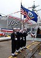 US Navy 080126-N-1120L-045 Members of Naval Mobile Construction Battalion (NMCB) 7 Color Guard parade the colors at the christening ceremony for Pre-commissioning Unit Dewey (DDG 105).jpg
