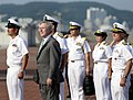 US Navy 090829-N-7280V-360 Secretary of the Navy (SECNAV), the Honorable Ray Mabus, arrives at Busan Naval Base in the Republic of Korea for a tour of the amphibious command ship USS Blue Ridge (LCC 19).jpg