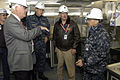 US Navy 091221-N-4482V-010 Rear Adm. Joseph Kilkenny, commander of Naval Education and Training, and Richard L. James, executive director of Naval Education and Training Command, discuss the galley configuration with Chief Stor.jpg