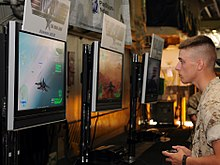 A Marine playing a video game