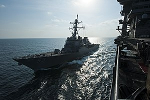 US Navy 120106-N-BT887-198 USS John Paul Jones and USS John C. Stennis cruise together during a fueling at sea.jpg