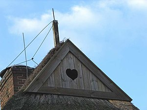"""Western barn owl - An Eulenloch (""""owl-hole"""") in northern Germany lets barn owls access the attic for nesting"""