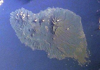 Umboi Island - Space Shuttle image of Umboi Island (north to upper right).