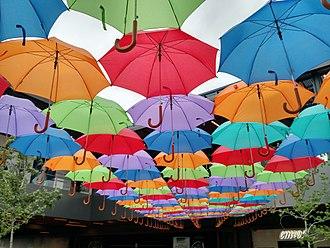 Antea LifeStyle Center - Umbrellas decorating Antea, as seen from the bottom