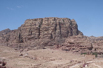 Antigonid–Nabataean confrontations - Umm Al-Biyara mountain in Petra, likely location of the second confrontation.