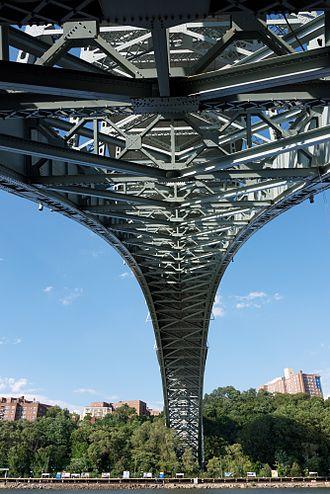 Henry Hudson Bridge - The underside of Henry Hudson Bridge, looking north