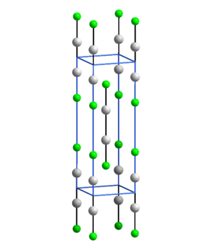 Mercury(I) fluoride - Unit cell of Hg2F2, with F from adjacent molecules coordinating the Hg atoms