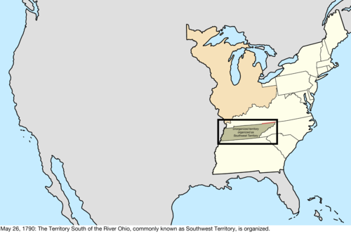 the land recently ceded by north carolina was organized as the territory south of the river ohio commonly known as the southwest territory