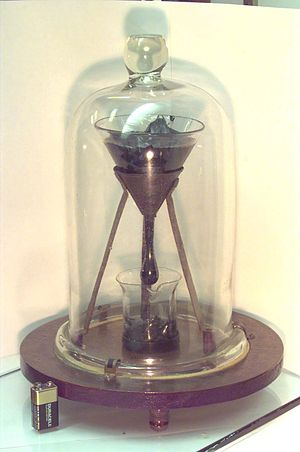 Orders of magnitude (viscosity) - The pitch drop experiment, demonstrating the viscosity of bitumen.