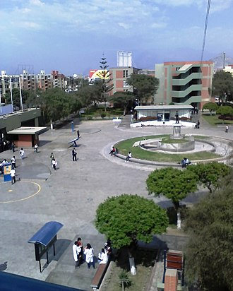 Antenor Orrego Private University - Campus view with students in Trujillo city