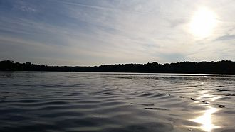 Mukwonago, Wisconsin - Upper Phantom Lake, Looking southwest. Photo taken in late August.
