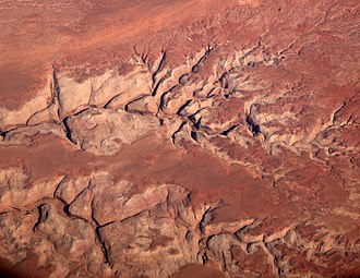 Robbers Roost - Upper Robbers Roost Canyon, aerial photo.