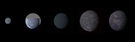 Major moons of Uranus in order of increasing distance (left to right), at their proper relative sizes and albedos (collage of Voyager 2 photographs) Uranian moon montage.jpg