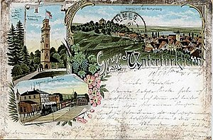 Württemberg Central Railway - Post card with Untertürkheim station in  1898