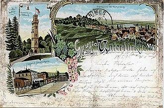 Württemberg Central Railway - Post card with Untertürkheim station in  1898