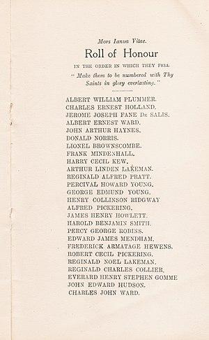 Bishopshalt School - Roll of Honour, as printed in 1922.