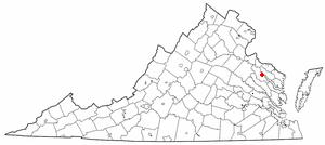 Tappahannock, Virginia - Image: VA Map doton Tappahannock