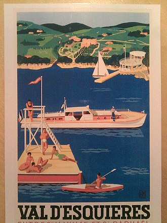 """Les Issambres - Tourist poster from the 1930s. The sailing center in the foreground and the conspicuous Hotel """"La Résidence"""" in the background."""