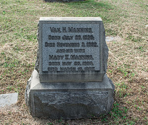 Van. H. Manning - Grave of Van. Manning at Glenwood Cemetery.