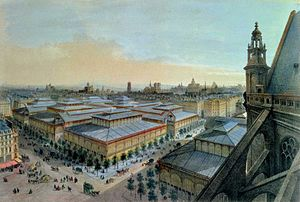 Les Halles - View of Les Halles from Saint-Eustache in 1870