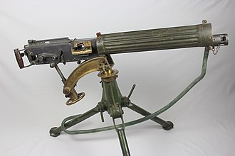 Vickers machine gun - A Vickers Machine Gun mounted on a Tripod. This particular model resides at the York Castle Museum.
