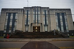 The Warren County Courthouse in Vicksburg was built c. 1940. It is located across from the Old Courthouse Museum.