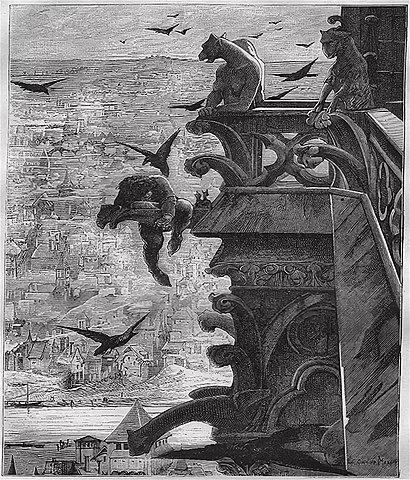 Квазимодо (герой романа «Собор Парижской Богоматери»)— Люк-Оливье Мерсон. Гравюра из книги Альфреда Барбу «Виктор Гюго и его время» (1881)