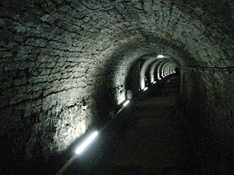 Newcastle upon Tyne - Victoria Tunnel, built 1842. In 1935 after a government document requested its cities build air-raid shelters, part of the tunnel was converted.