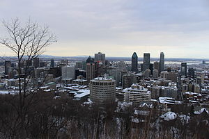 View of Montreal in winter from Mount Royal