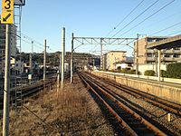View of Nippo Main Line from platform of Kamegawa Station (north).JPG