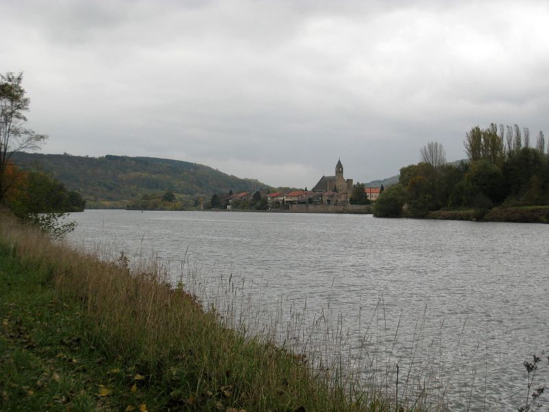 View over the Moselle river to Rettel,  France