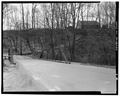 View southwest, east end - Albion Trench Bridge, School Street spanning Albion Mill Race, Cumberland, Providence County, RI HAER RI,4-CUMB,5-4.tif