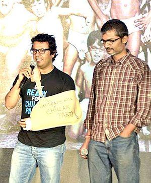 Nitesh Tiwari - Nitesh Tiwari (right) with Vikas Bahl at the press conference for Chillar Party