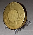 Vintage Goldtone Powder Compact, NOS, Not Marked, Measures 3 Inches in Diameter (11092124763).jpg